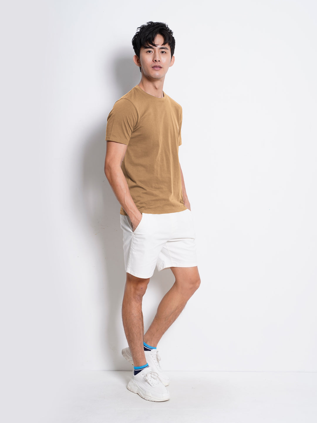 Men 100% Cotton Plain Tee - Khaki