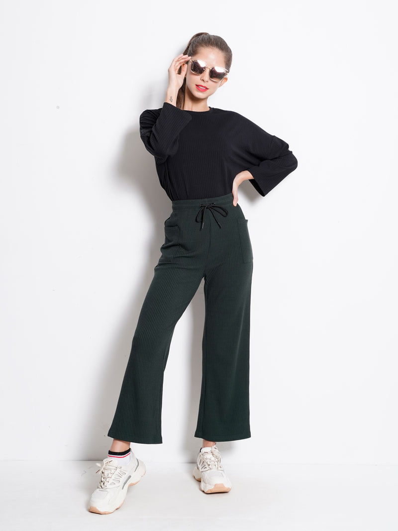 Long Knit Culottes  - Green