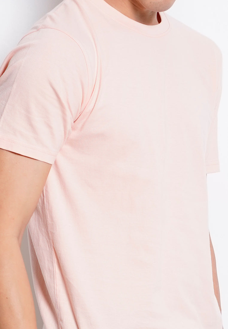 Men 100% Cotton Plain Tee - Pink
