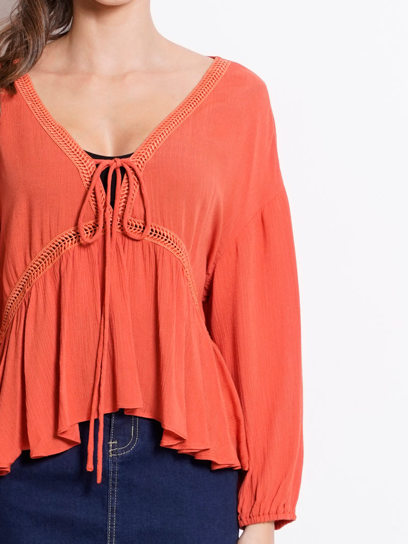 V Neck Embroidery Long Sleeve Blouse - Orange