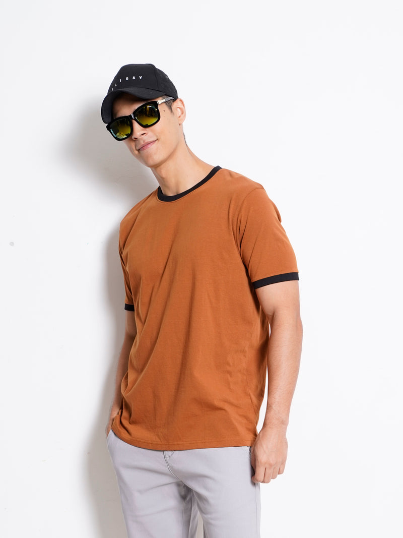 Plain Short Sleeve Tee - Brown