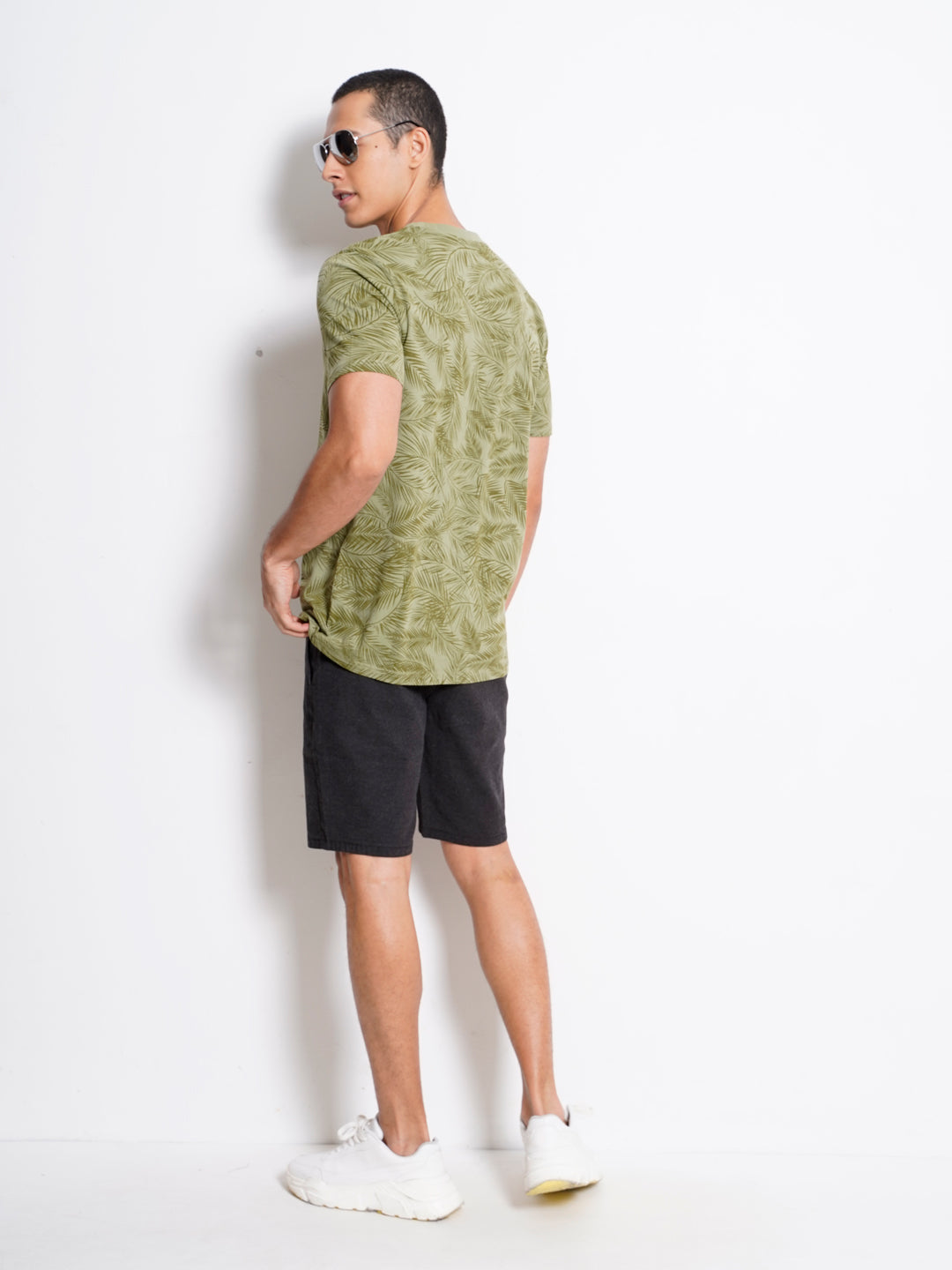 Men Full Print Short Sleeve T-Shirt - Green - GAM20H2538