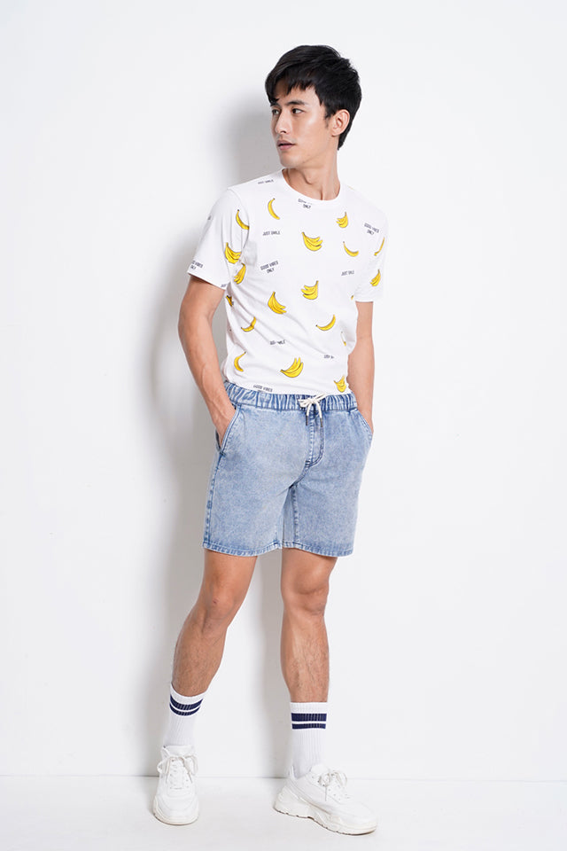 Men Drawstring Denim Short Pants - Blue