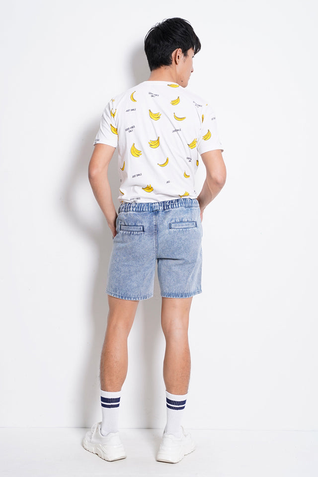 Drawstring Denim Short Pants - Blue