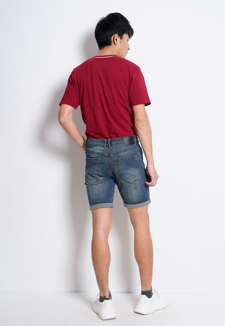 Men Denim Bermuda Shorts - Blue