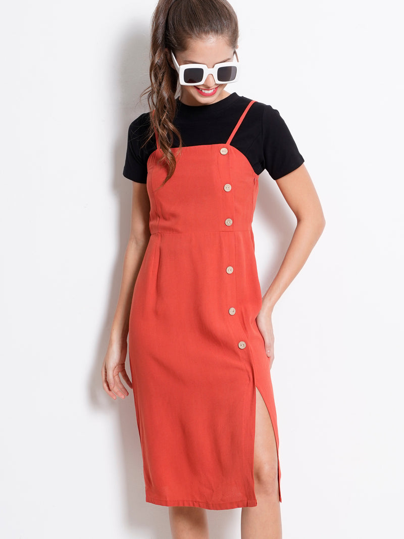 Plain Long Strap Dress - Dark Orange