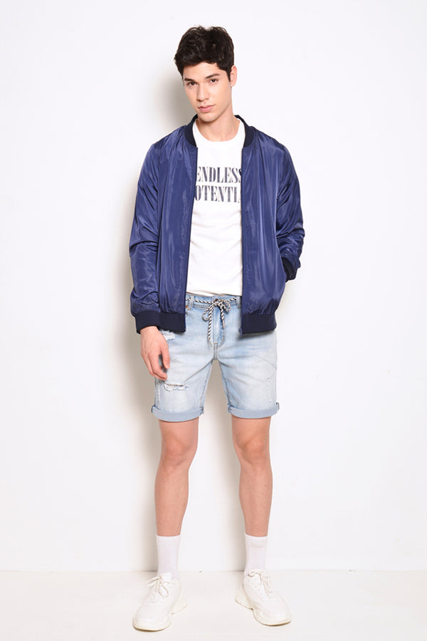 Nylon Bomber Jacket - Blue