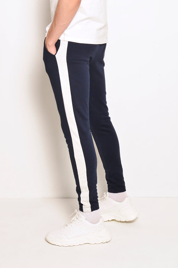 Long Knit Jogger With Side Taping - Navy