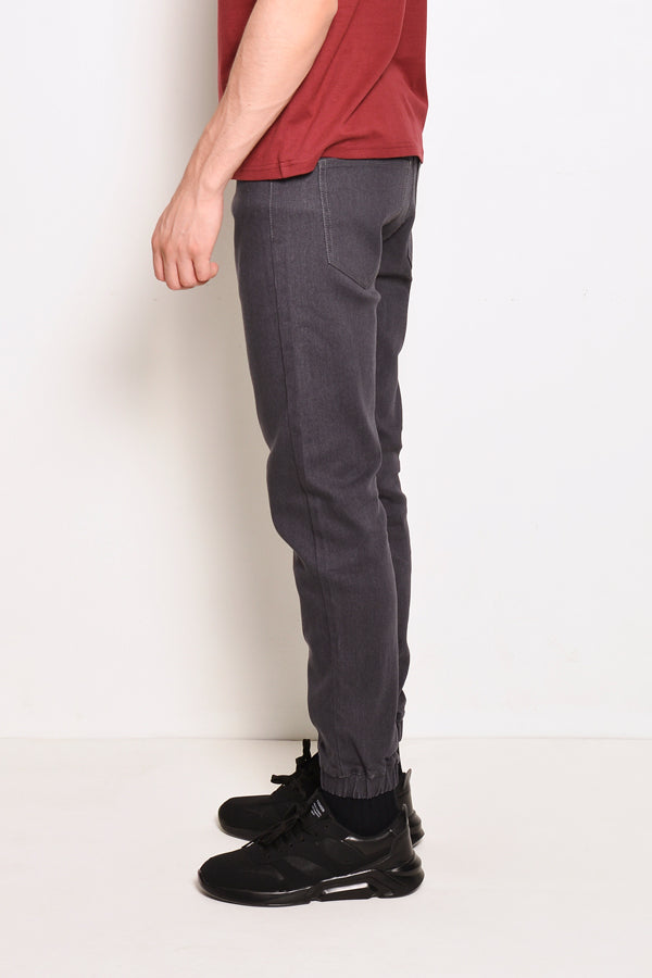 Long Denim Jogger - Grey