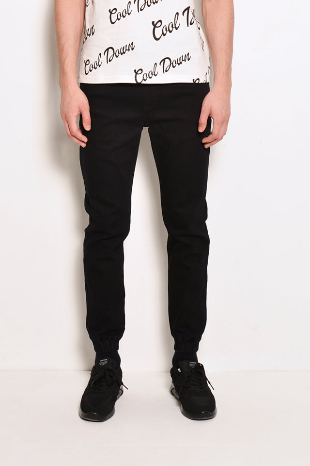 Long Denim Jogger - Black