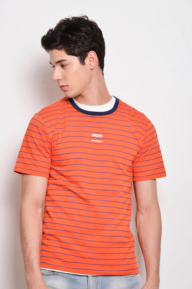 Stripe Short Sleeve T-Shirt - Orange