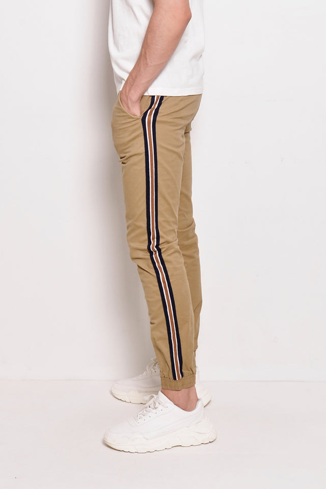 Long Pants Jogger With Side Taping - Khaki