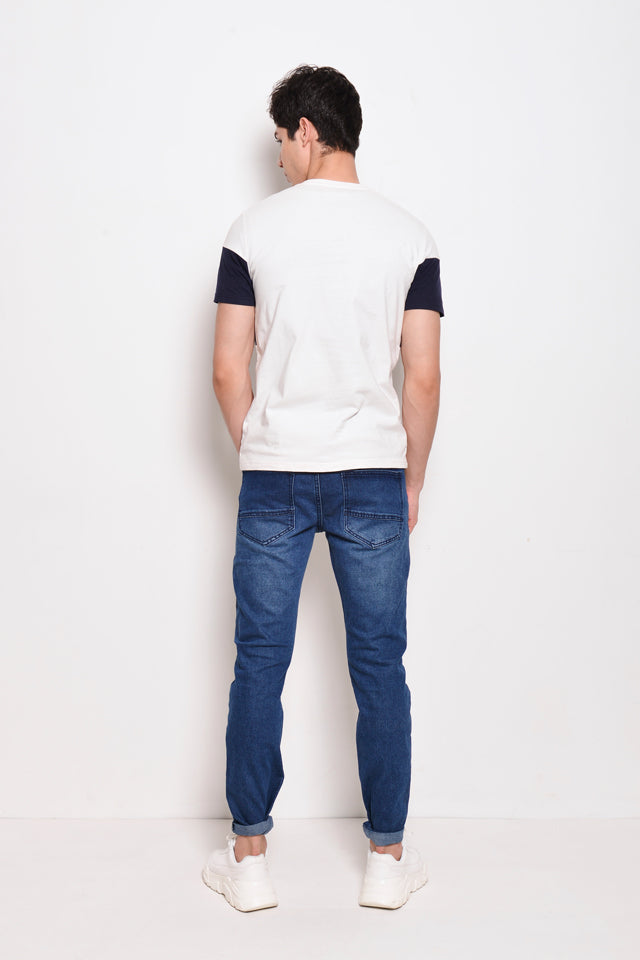 Cut And Sew Short Sleeve Logo Tee - Off White