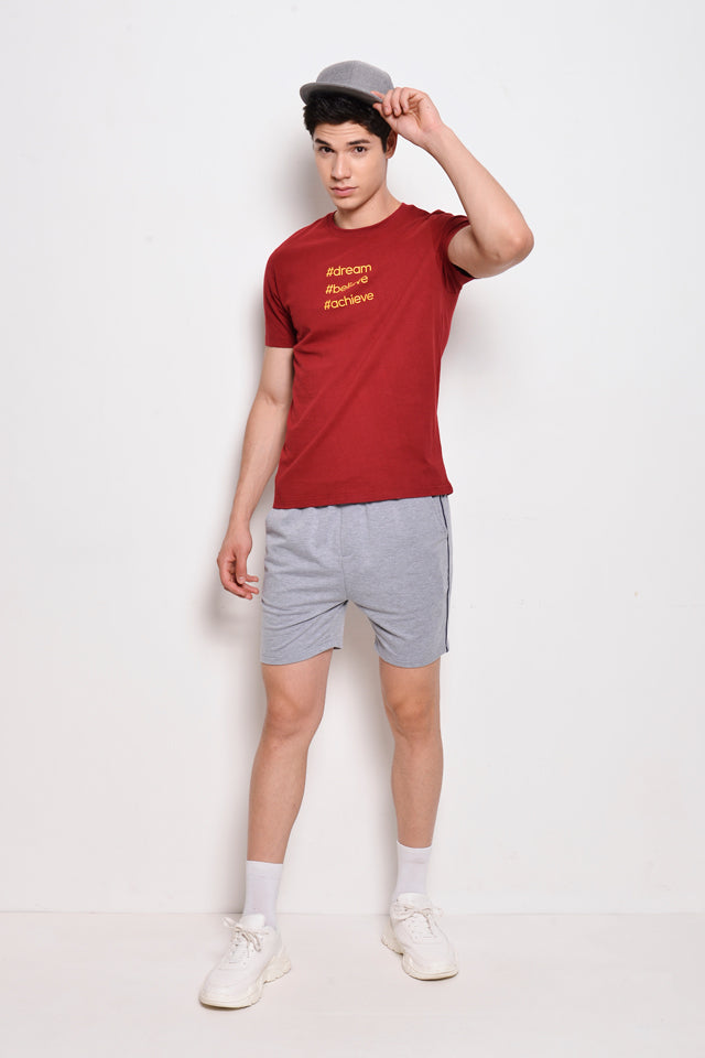 Short Sleeve Slogan Tee - Dark Red