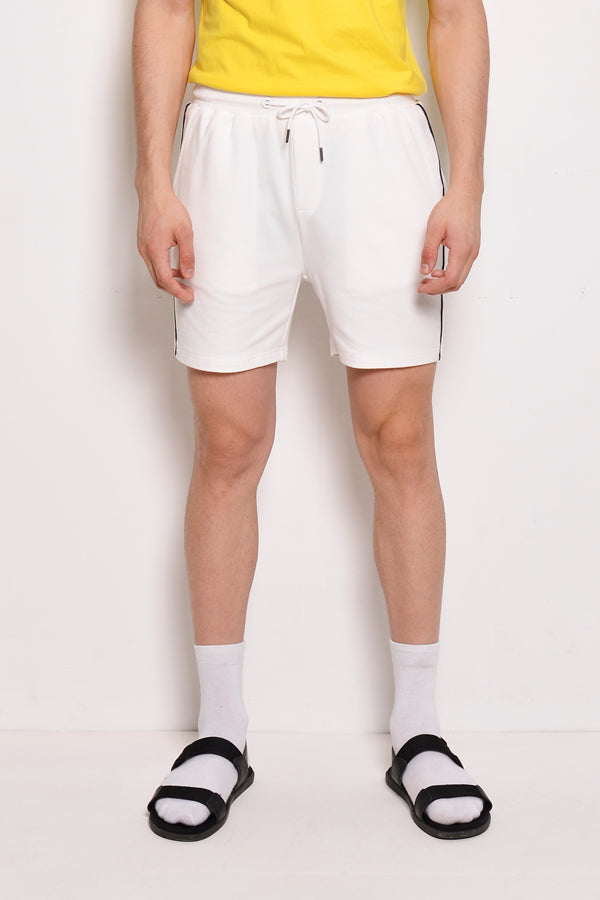 Short Knit Jogger With Side Taping - White