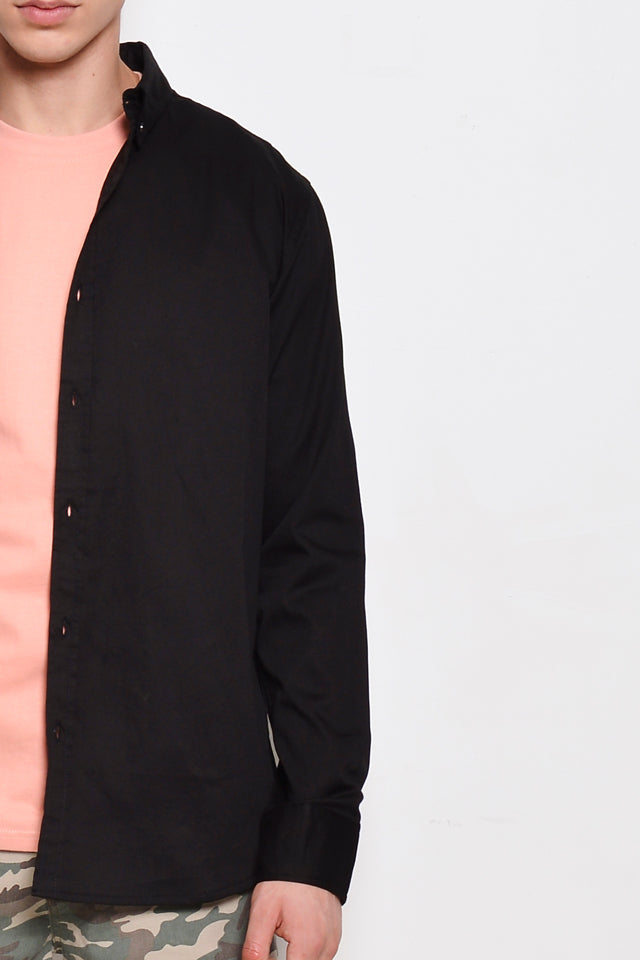 Men Smart Casual Long Sleeve Shirt - Black