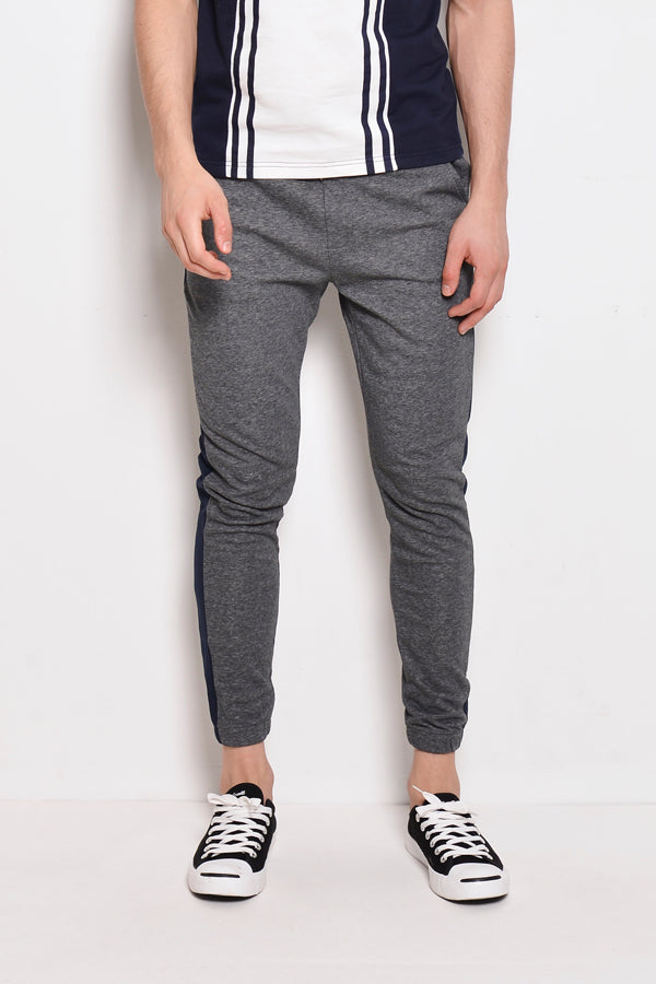 Long Knit Jogger With Side Taping - Dark Grey