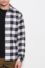 Checked Long Sleeve Shirt - Black