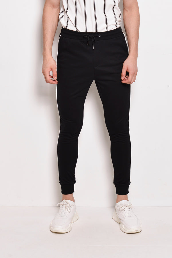 Long Jogger With Side Stripe - Black