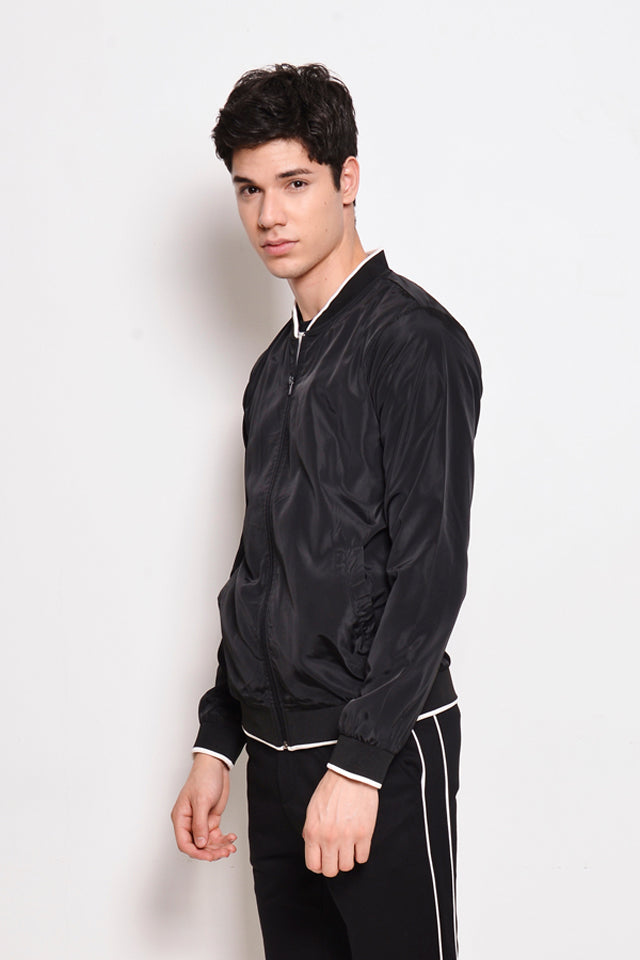 Nylon Bomber Jacket - Black