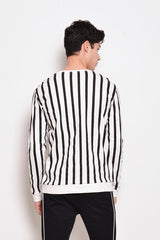 Long Sleeve Vertical Stripe Sweatshirt - Black