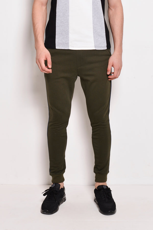 Long Jogger With Side Stripe - Dark Green