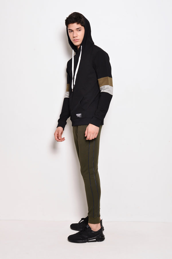 Men Long Jogger With Side Stripe - Dark Green