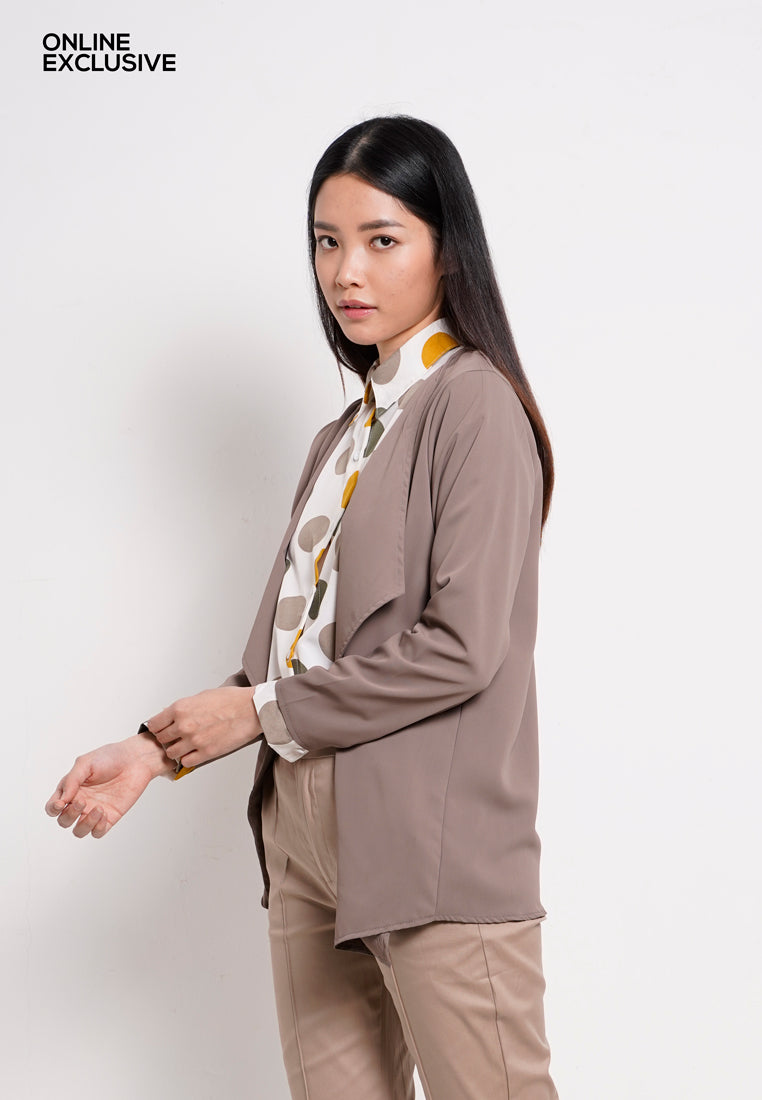 Women Long Sleeve Cardigan - Brown - PFM1F2857