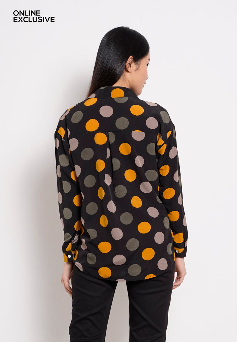 Women Long Sleeve Polka Dot Shirt - Mix Black- PFM1F2874