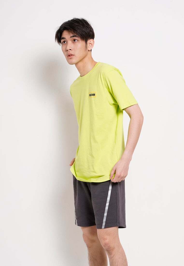 Men Slogan Short Sleeve T-Shirt - Light Green -