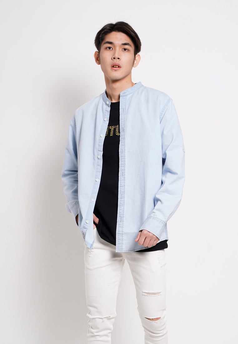 Men Shirt Long Sleeve - Light Blue - ETM1H2827