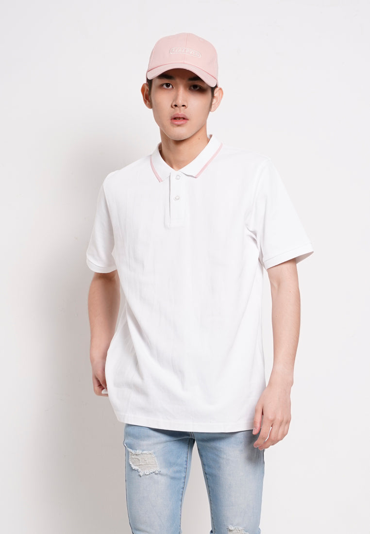 Men Basic Cotton Polo Tee - White - RFS1H2637