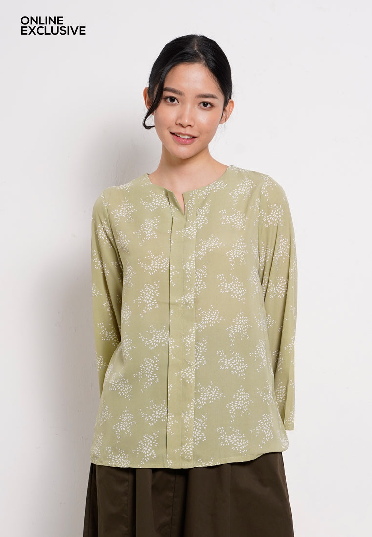 Women Long Sleeve Blouse - Mix Green - PFM1F2830