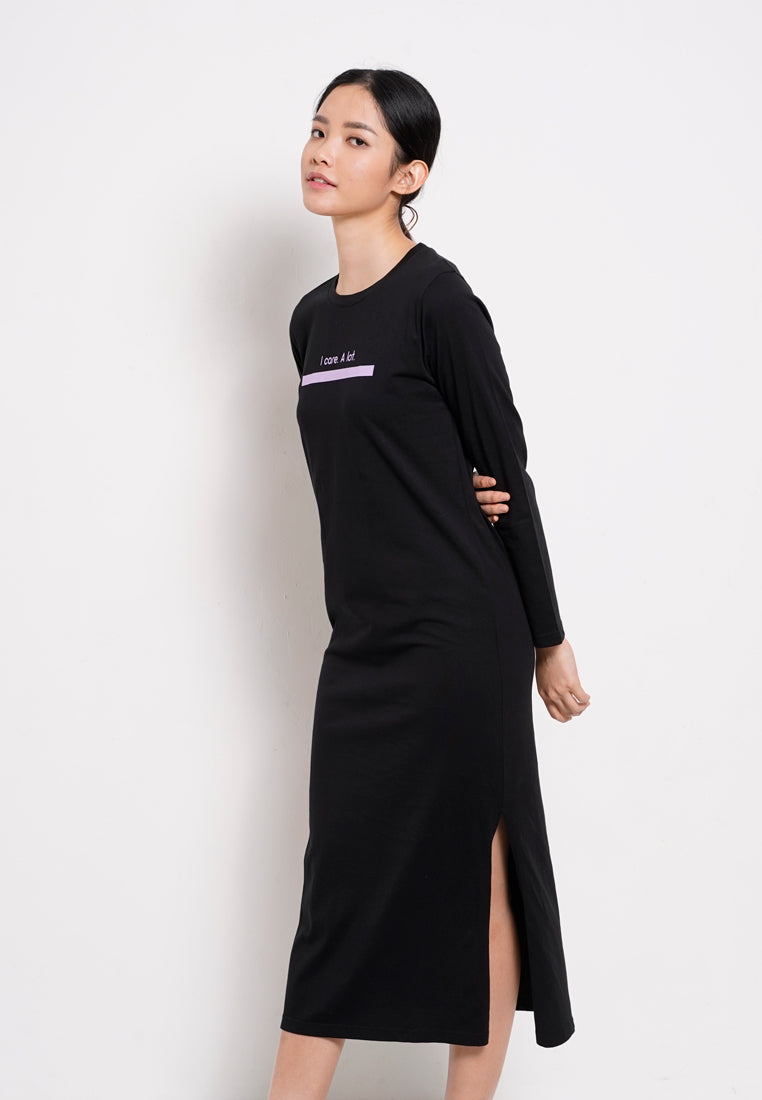 Women Slogan T-Shirt Dress Long Sleeve - Black - RFS1F2621