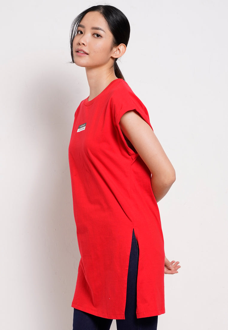 Women T-Shirt Dress Sleeveless - Red - YBH20F2666