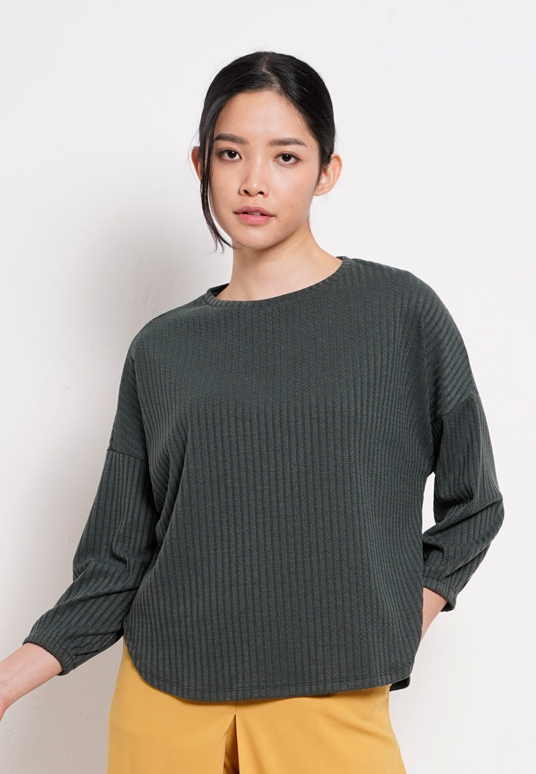 Women Knit Long Sleeve Blouse - Dark Green - YCM1F2775