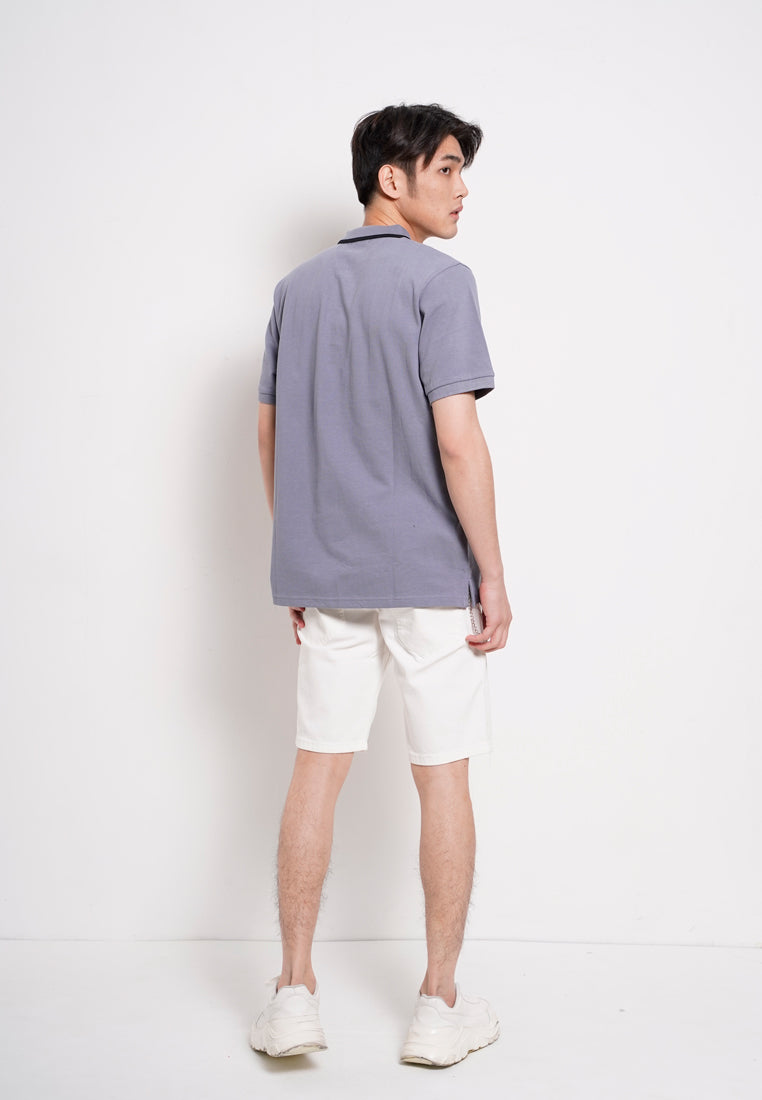 Men Basic Cotton Polo Tee - Grey - RFS1H2640
