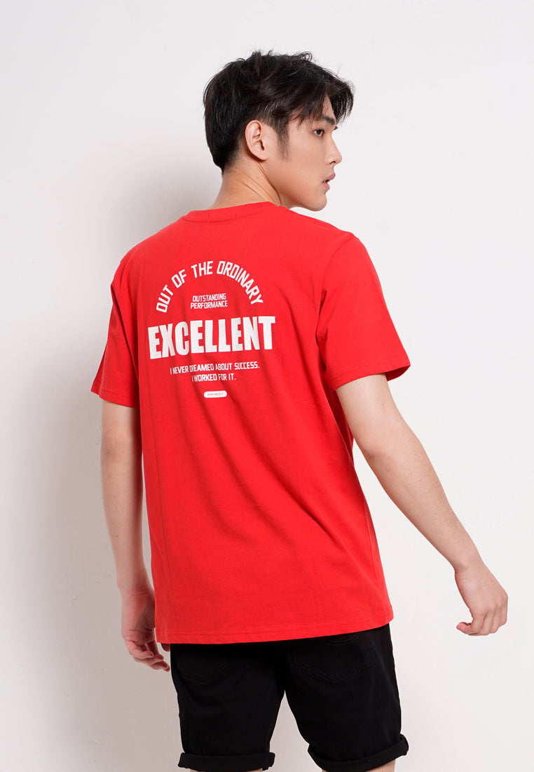 Men Slogan Short Sleeve T-Shirt - Red - RFS1H2610