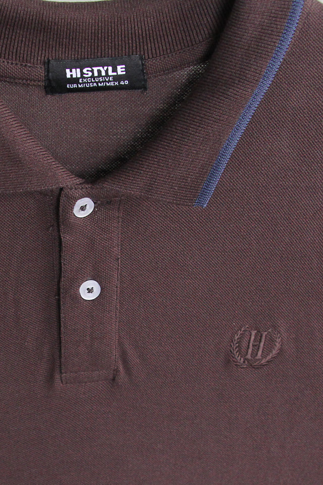 Short Sleeve Polo Tee With Embroidery - Brown