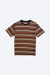 100% Cotton Stripe Tee - Brown