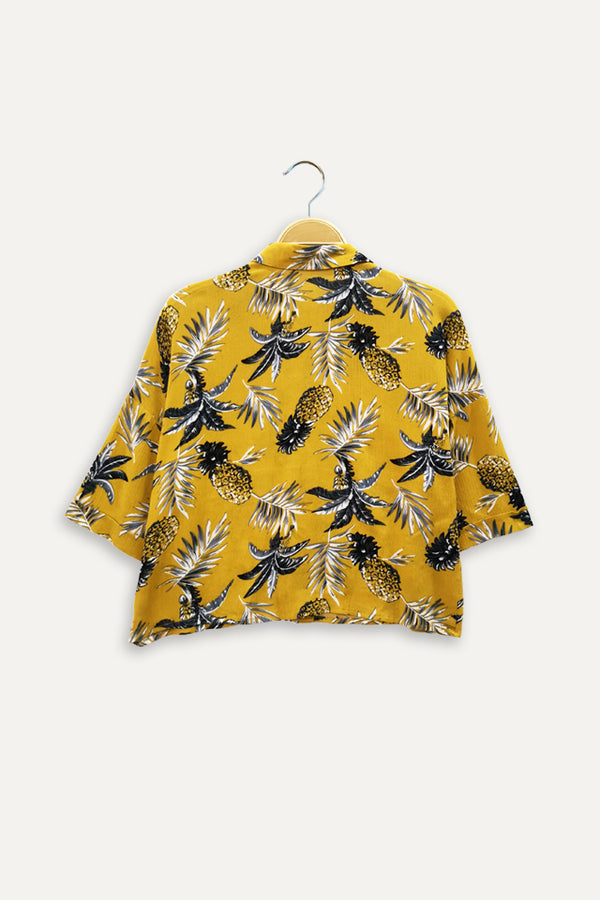 Floral Short Sleeve Crop Shirt - Yellow