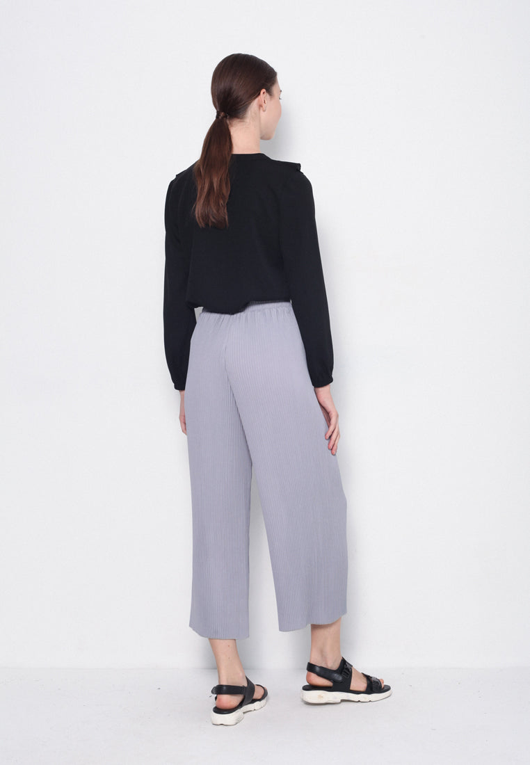 Women Wide-Leg Pleated Pants - Grey - USM8F1118