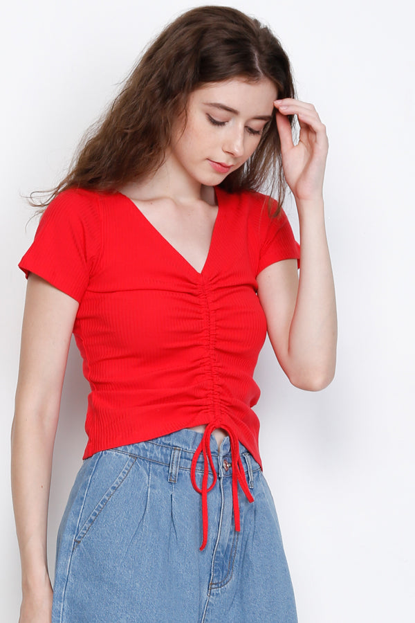 Twist Front Short Sleeve Blouse - Red
