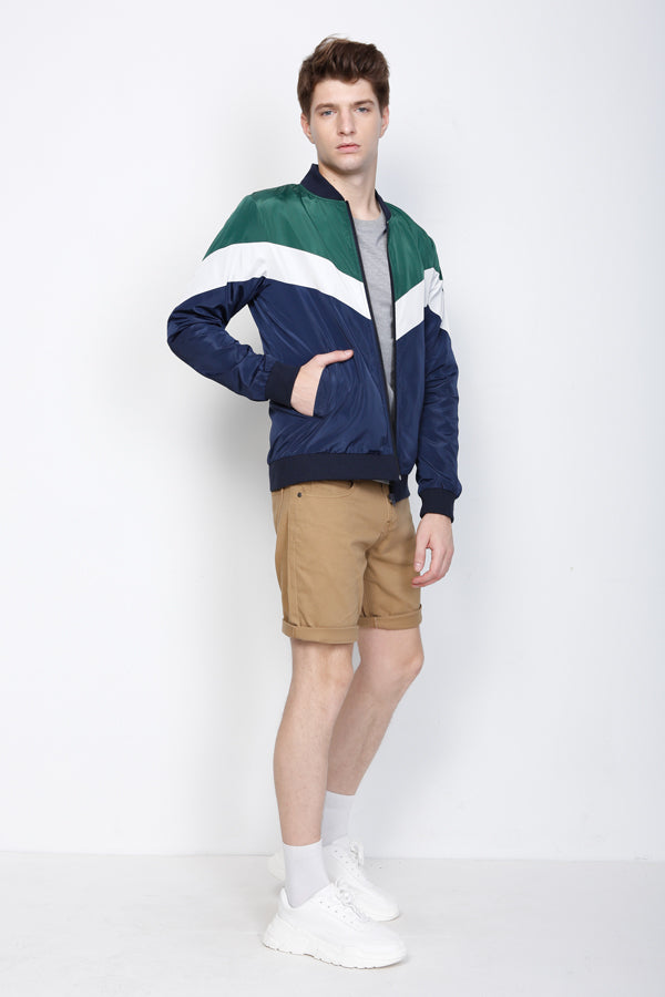Thin Colour Block Bomber Jacket - Navy