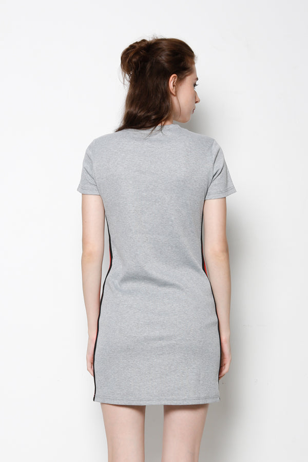 Short Sleeve Ribbed T-Shirt Dress With Side Stripe - Grey