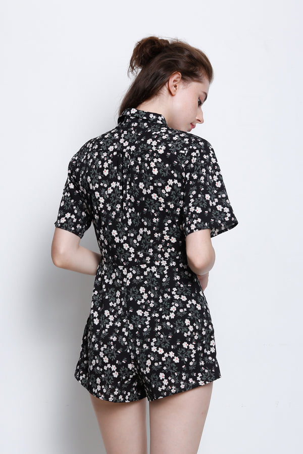 Floral Tied Front Jumpsuit With Collar - Black