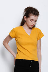 V Neck Short Sleeve Ribbed T-Shirt - Yellow