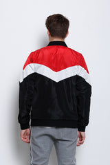 Thin Colour Block Bomber Jacket - Black
