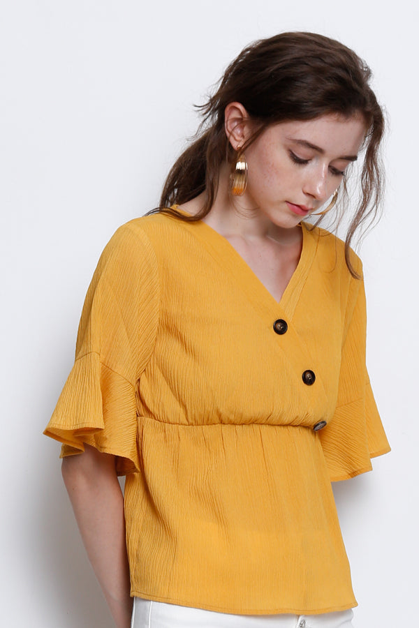 Woven Peplum Blouse With Flare Sleeve - Yellow