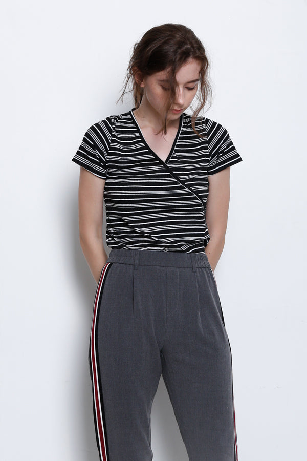 Tailored Fit Trouser With Side Stripe - Dark Grey